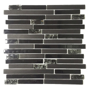 Upscale Designs 30cm Black Glass Mesh-Mounted Mosaic Wall Tile