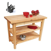John Boos Country Maple Table with Henckels 13-piece Knife Block Set