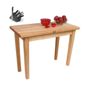 John Boos Country Maple Table with Towel Rack and Henckels 13-piece Knife Block Set
