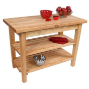 John Boos C02C-2S-TLR 48x24 Country Maple Tabel with Casters/2 Shelves/Towel Rack & Henckels 13 Piece Knife Block Set