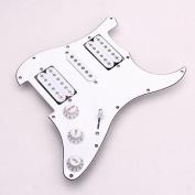 TOOGOO(R) Loaded Prewired Electric Guitar Pickguard Pickups 11 Hole HSH White