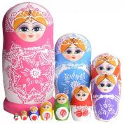 10pcs Lovely Large Russian Nesting Doll Handmade Wooden Dolls, Colourful Porcelain