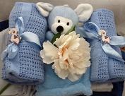 Luxury Newborn Baby Boy Blankets Hamper - free. Message Option