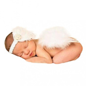 Koly Newborn Baby Angel White Feather Wing Set Butterfly Wings Photo Prop Girls Hair Accessories