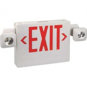 MONUMENT EMERGENCY EXIT LED COMBO WITH RED LETTERS, 2 FULLY ADJUSTABLE LED LAMP HEADS, REMOTE-HEAD CAPABLE per EA