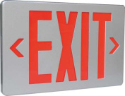 MONUMENT EXIT SIGN SINGLE FACE BRUSHED aluminium WITH RED LETTERS, UL LISTED, SUITABLE FOR DAMP LOCATIONS per EA