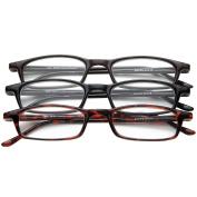 Half Eye Style Magnifying Reading Glasses +2.5 Set of 3 Pairs ValuPac