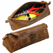 BARON of MALTZAHN Pencil Case - Pens Etui - Cosmetic Bag DEMOCRIT brown leather