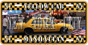 AMERICAN METAL PLATE 30X15cm COLLECTION NEW YORK CITY YELLOW CAB MANHATTAN NY