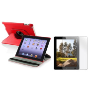 INSTEN Red Leather Swivel Tablet Case Cover/ Screen Protector for Apple iPad 2/ 3/ New iPad/ 4