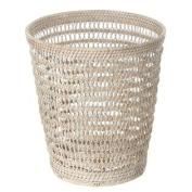 La Jolla Handwoven Rattan Mesh Round Waste Basket, Dia 28cm x 30cm , White Wash