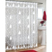 Snowman Lace Fabric Shower Curtain 70Wx72L
