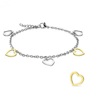 Silver and Gold Hearts Gold Plated Adjustable Anklet. Presented in a premium gift box and organza bag.