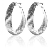 2LIVEFOR Creole Earrings Silver Large Silver Earrings Elegantly Long Oval Wide