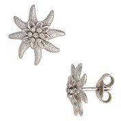 Pair of Flower Stud Earring 925 Rhodium-Plated Ladies White from Real Silver Gemstone Connector
