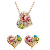 PRESKIN Sparkling golden Multicolor Heart Jewellery Necklace + earrings | Heart pendant with many colour and clear crystals on fine chain and matching heart-shaped ear plugs | aqua pink gold