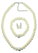 PRESKIN Classic Pearl Jewellery Set Necklace + earrings + bracelet | White pearl necklace and stretchable bracelet with matching pearl ear studs