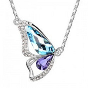 18k PURE WHITE GOLD Plated AUSTRIAN CRYSTAL Butterfly Necklace Crystal Wings