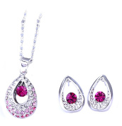 PRESKIN Sparkling Jewellery Set Necklace + earrings | Platinum-plated oval pendant with sparkling rhinestones