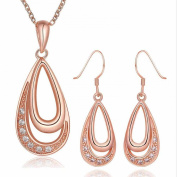 Jewellery set parure Crystal Plated rose gold 18K carat High quality novelty jewellery Rings and crystals river Pink Teide Women gift low price