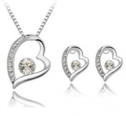 PRESKIN Silver Jewellery Crystal Heart Necklace + earrings | sparkling crystal heart pendant on fine chain with matching heart-shaped ear plugs