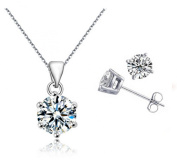 PRESKIN Silver Jewellery Set Necklace + earrings | sparkling crystal pendant on fine chain with matched earrings