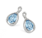 Velini, ladies earring EA6173, 925 sterling silver, micro pave setting, AAA quality, 78 cubic zirconia stones, with centre aqua stone, shines like diamonds