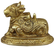 Animal Ornaments Statue - Nandi Bull Brass Figurine - Home Decor Statue -7.6 x 4.6 x 5.1 CM