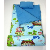 SoHo kids Jacks Pirates children sleeping slumber bag with pillow and carrying case lightweight foldable for sleep over
