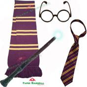 SCHOOL BOY WIZARD 4 PIECE SET - Scarf + Tie + Wand + Glasses