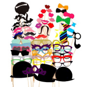 SupplyEU 58PCS Colourful Props On A Stick Moustache Photo Booth Party Fun Wedding Christmas Birthday Favour