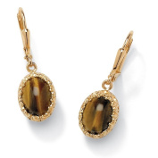 PalmBeach Genuine Oval Tiger's Eye Cabochon Drop Earrings 14k Yellow Gold-Plated Naturalist