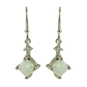 Gems For You Sterling Silver Opal and White Topaz Dangle Earrings