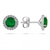 Marquee Jewels 14k White Gold Emerald and 1/5ct TDW Diamond Earrings