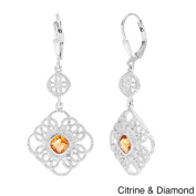 La Preciosa Sterling Silver1/10ct TDW Diamond/ Gemstone Dangle Earrings