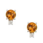 Kabella 14k White Gold Citrine and 1/10ct TDW Diamond Stud Earrings