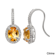 Gioelli Sterling Silver Gemstone and White Sapphire Accent Fish Hook Earrings