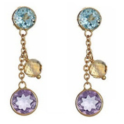 14k Yellow Gold Semi-precious Gemstone Dangle Earrings