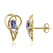 Silver Tanzanite Gemstone and White Diamond Accent Earrings