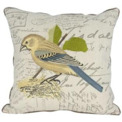 Manor Luxe Avian Collection Embroidered Bird Decorative Pillow, Bird on Nest, 46cm by 46cm
