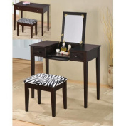 Espresso Wooden Makeup Vanity Table Set with Flip Mirror