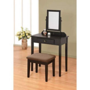 Contemporary Vanity Set with Adjustable Mirror and Brown Cushion Stool in Black Finish