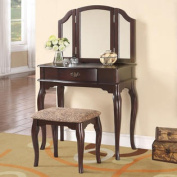 Contemporary 3 PC Espresso Vanity Set w/ Tri-Folding Mirror Upholstered Stool