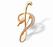 Women's Musical Note Sweater Coat Brooch With Crystal Gold Plated