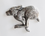 Hare Large Pewter Pin Badge - Hand Made in Cornwall