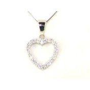 Solid 925 Sterling Silver Sparkling White CZ Heart Pendant & 41cm Sterling Silver Chain Necklace - Ideal for a young Girl or Teenager