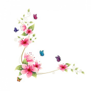 Cy-buity High Quality Wall Stickers Decal Removable kid Art Pink Flower Butterflies Pattern Home Mural Decor 64*62cm Flower Butterfly
