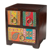Hand Painted Mango Wood Large 3 Drawer Chest / Jewllery Chest Fair Trade