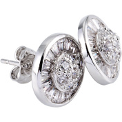 Simon Frank Rhodium Overlay Halo Cubic Zirconia Earrings