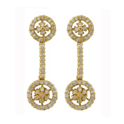 Gold Finish Sterling Silver Cubic Zirconia Floral Circle Dangle Earrings